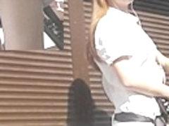 Redhead upskirt on a sunny summer day