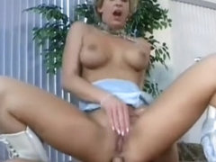 Trashy blonde milf on a leash welcomes her man's hard dick up her ass