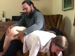 Very tall cute girl gets a proper spanking