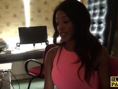 Ebony brit submissive throatfucked by maledom
