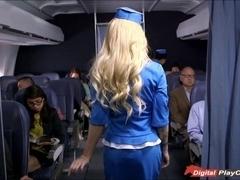 Stewardess Helly Mae caught rubbing her pussy on board